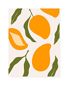 Stylish vector cover design with mango fruits. Composition of trendy hand drawn mangos and leaves for postcards, print, posters, brochures, etc. Vector illustration.