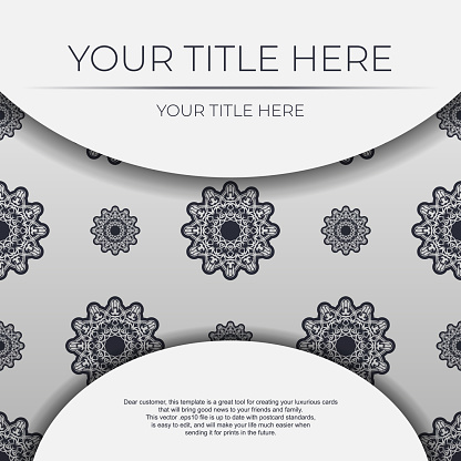 Stylish vector Template for print design postcard in white color with vintage ornament. Preparing an invitation with dewy patterns.