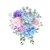Stylish violet colored and pink flowers vector design bouquet. Rose, purple carnation, bell flower, succulent, blue hydrangea, eucalyptus.Floral bunch.Spring mood composition.All elements are isolated