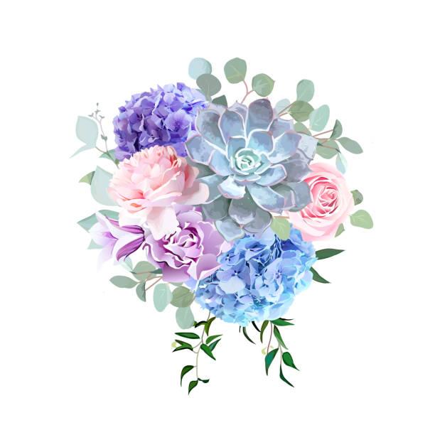 Flores de colores y rosas violetas elegante vector diseño ramo - ilustración de arte vectorial
