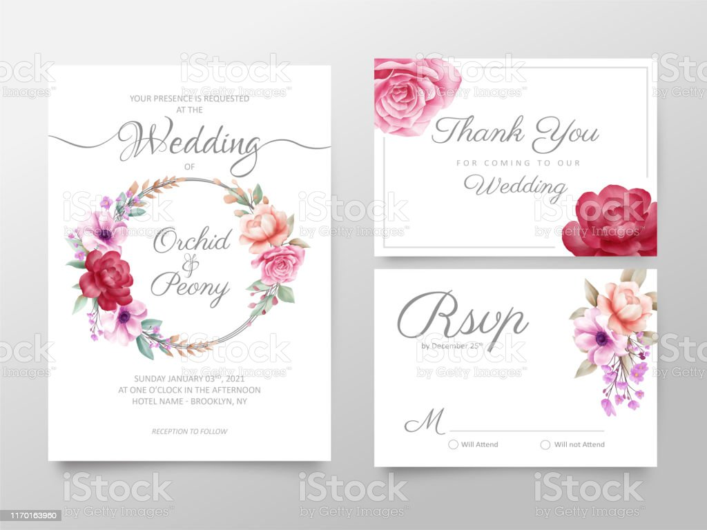 Stylish Watercolor Floral Wedding Invitation Cards Template Set Editable  Invite Thank You Rsvp Cards Vector Design Stock Illustration - Download  Image Now - iStock