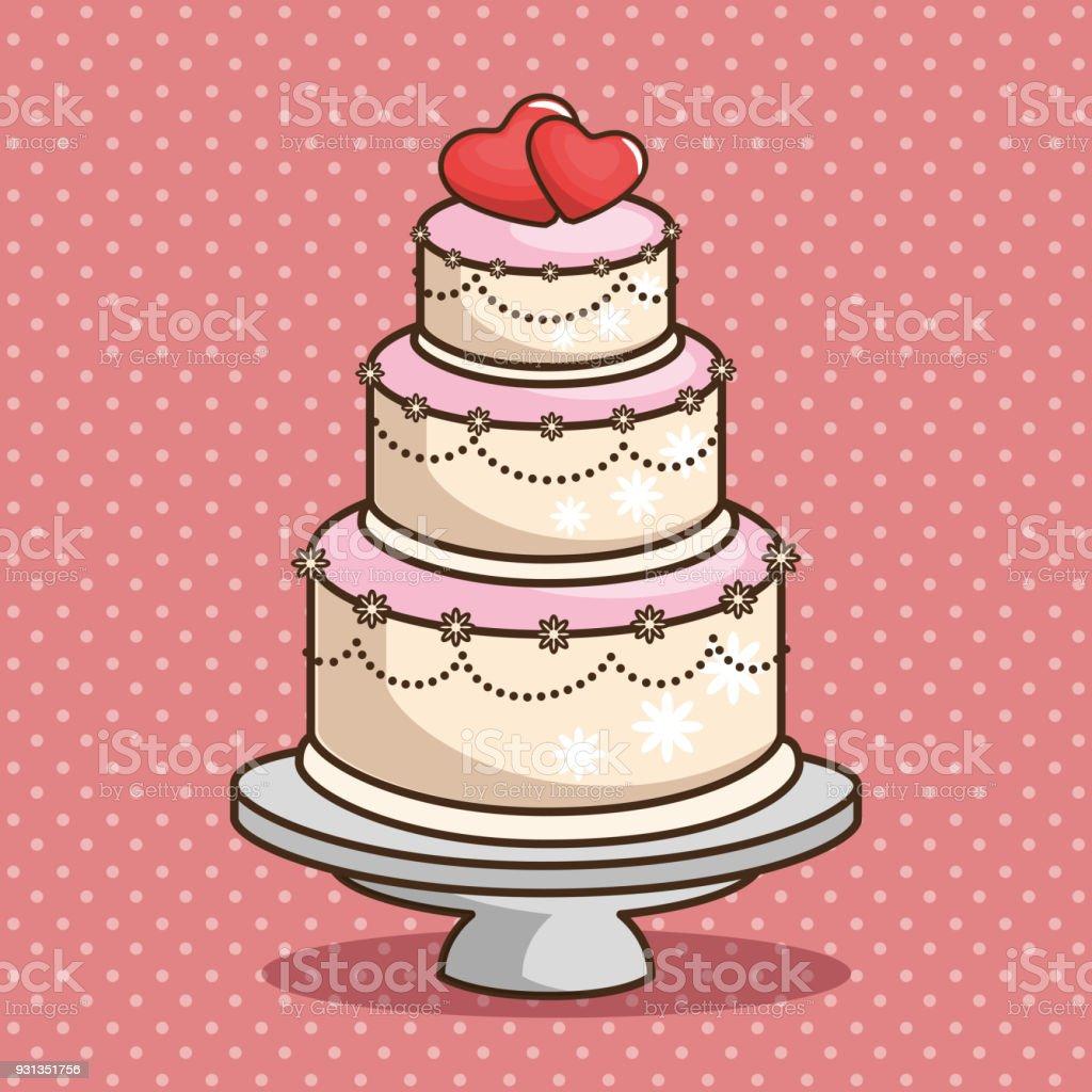 Stylish Wedding Cake Stock Vector Art More Images Of Backgrounds