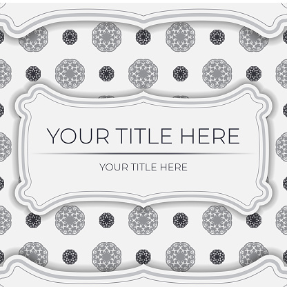 Stylish white postcard design with vintage ornament. Stylish invitation with dewy patterns.