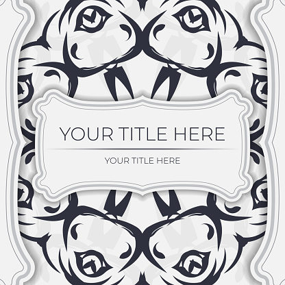 Stylish white postcard design with vintage ornament. Vector invitation card with dewy patterns.