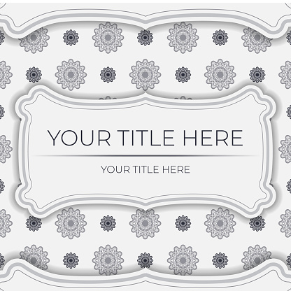 Stylish white postcard design with vintage patterns. Vector invitation card with dewy ornament.