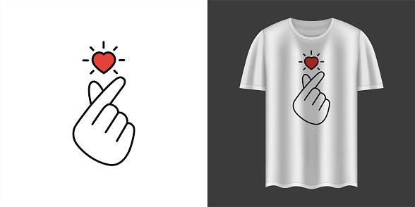 Stylish white t-shirt and apparel trendy design with Korean love sign. Textiles, t-shirts, web. Typography, print, vector illustration.