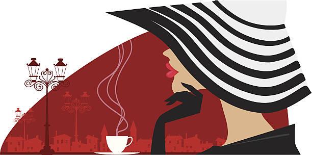 ilustrações, clipart, desenhos animados e ícones de mulher elegante em uma grande chapéu no cafe - moda parisiense