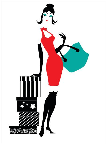 stylish woman with presents - prom fashion stock illustrations, clip art, cartoons, & icons