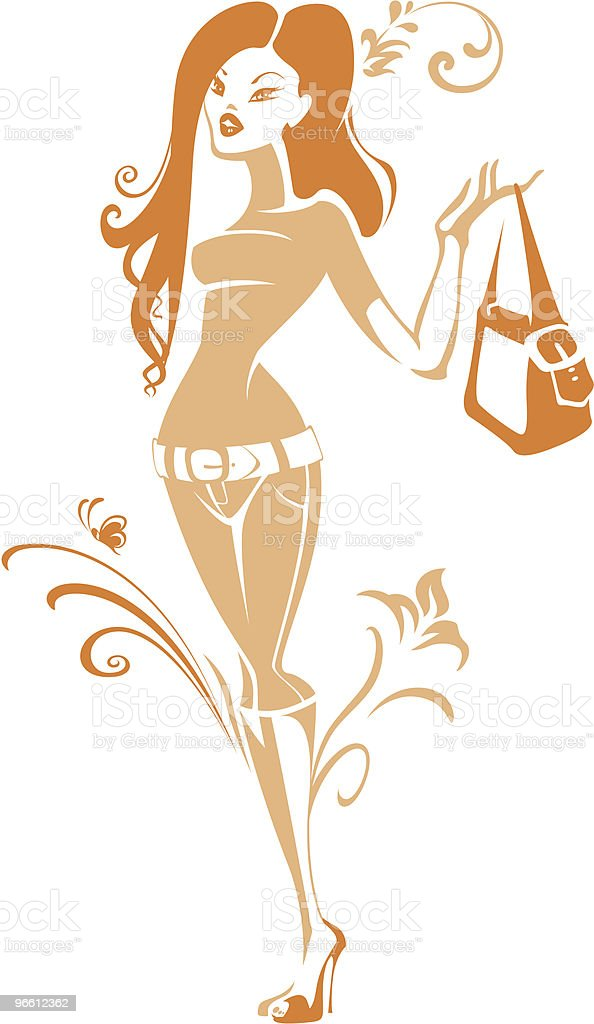 Stylish women silhouette - Royalty-free Adult stock vector