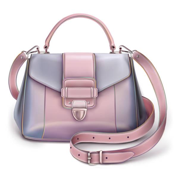 modebewusste frauen grau-rosa handtasche - lederranzen stock-grafiken, -clipart, -cartoons und -symbole