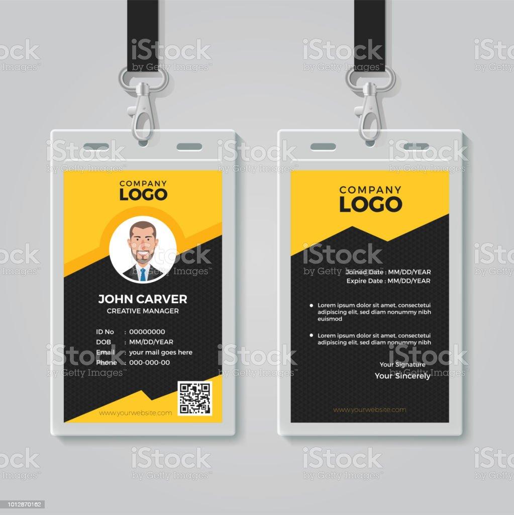 stylish yellow id card design template stock illustration