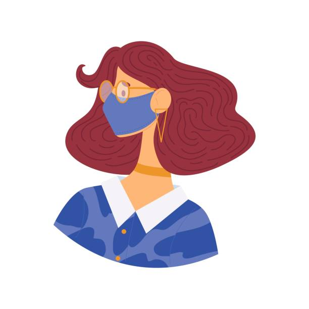 ilustrações de stock, clip art, desenhos animados e ícones de stylish young girl in glasses and protective mask - covid hair