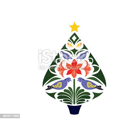 Stylistic Christmas Tree Stock Vector Art & More Images of 2015 484911566 | iStock