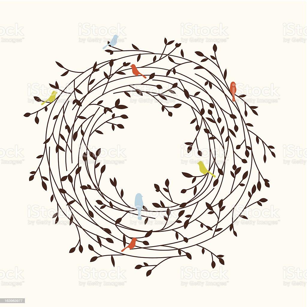 stylize nest with a birds vector art illustration