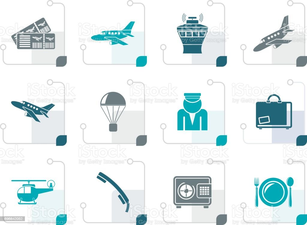 Stylized Airport and travel icons vector art illustration
