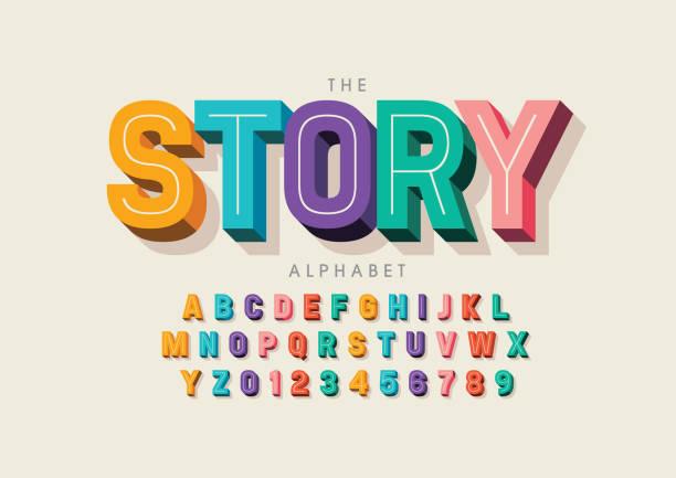 illustrazioni stock, clip art, cartoni animati e icone di tendenza di stylized alphabet - divertirsi