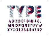 Vector of modern stylized font and alphabet
