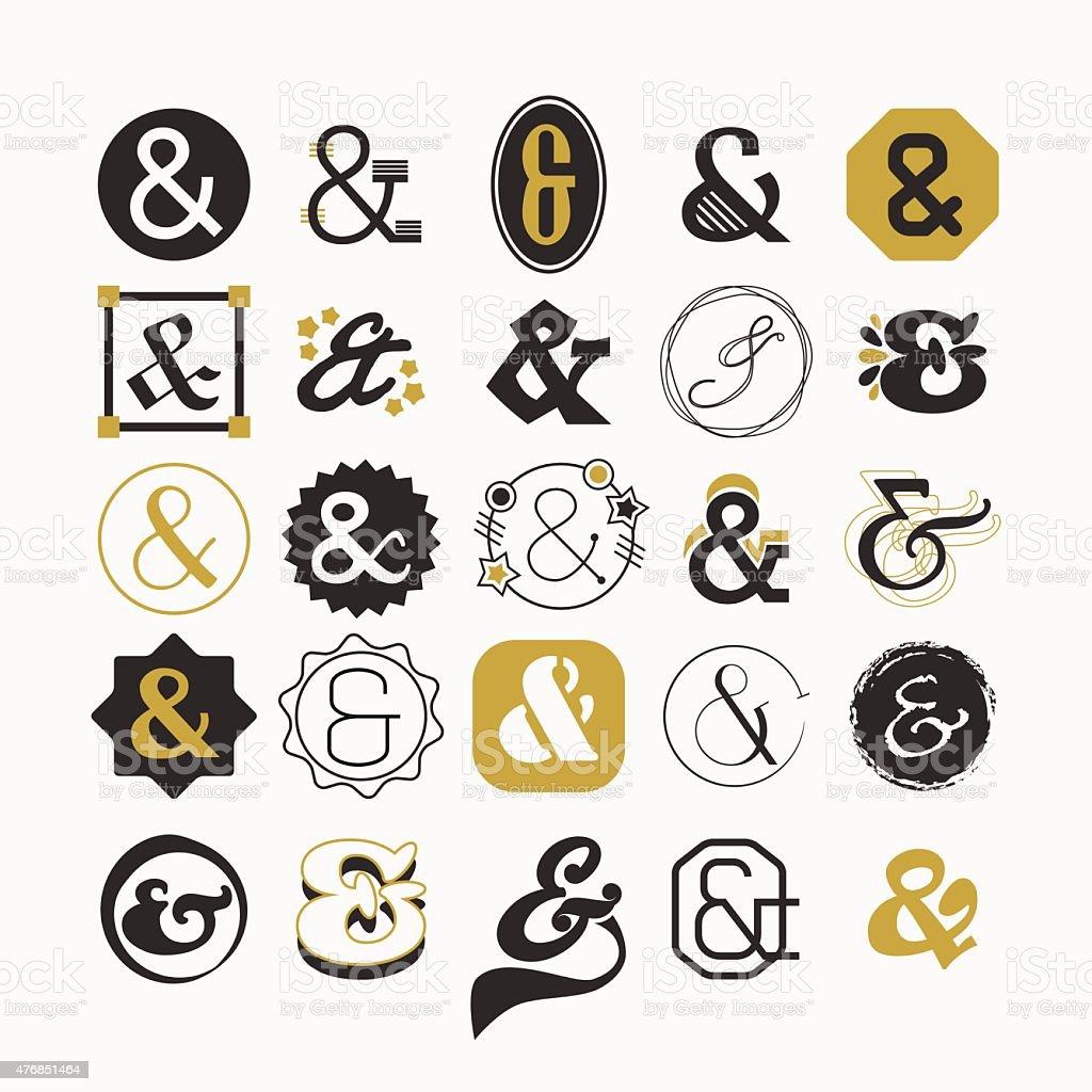 Stylized Ampersand sign and symbol design elements set vector art illustration