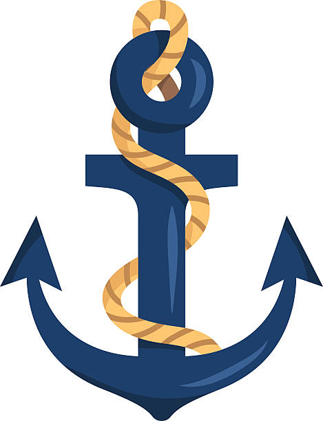 Stylized anchor isolated on white vector art illustration