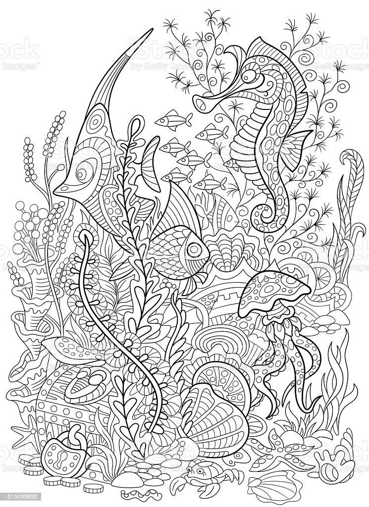 Stylized animal set sea collection. Ocean life. vector art illustration
