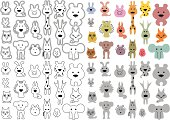 small stylized animals outline vector