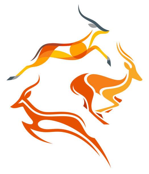 stockillustraties, clipart, cartoons en iconen met gestileerde antilopen - antilope
