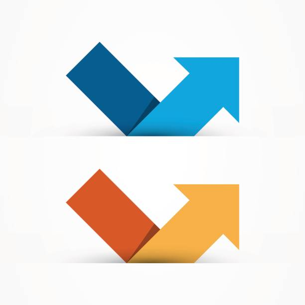 bildbanksillustrationer, clip art samt tecknat material och ikoner med stiliserad pil mall med två färgvariation - chain studio