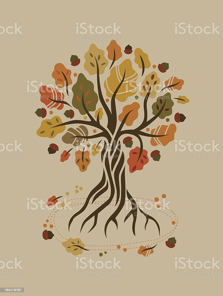 Stylized autumn oak royalty-free stylized autumn oak stock vector art & more images of autumn