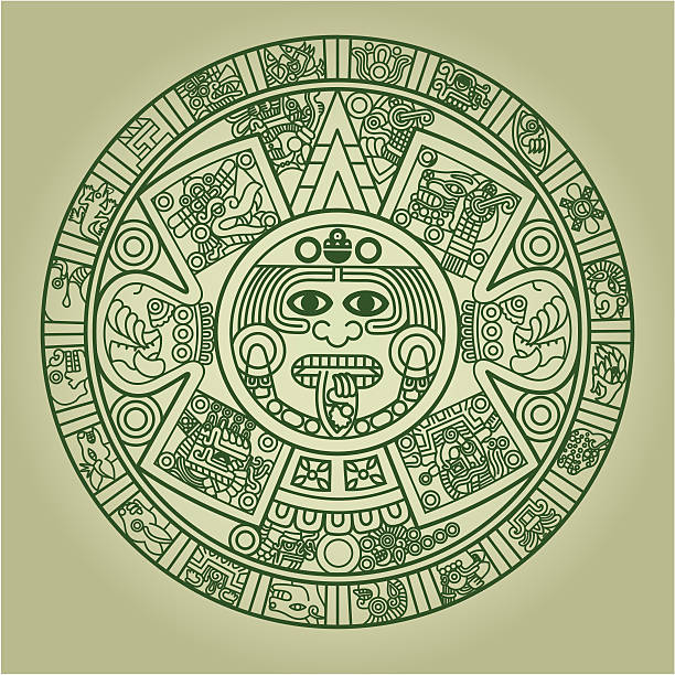 Stylized Aztec Calendar vector art illustration