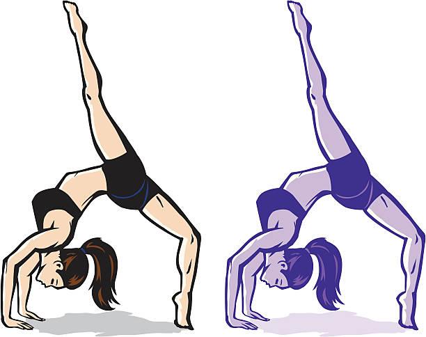 Stylized backflip girl vector art illustration