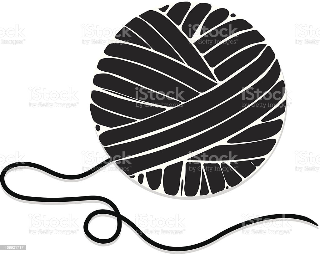 Yarn Clipart Black And White Stylized Ball Of Yarn ...