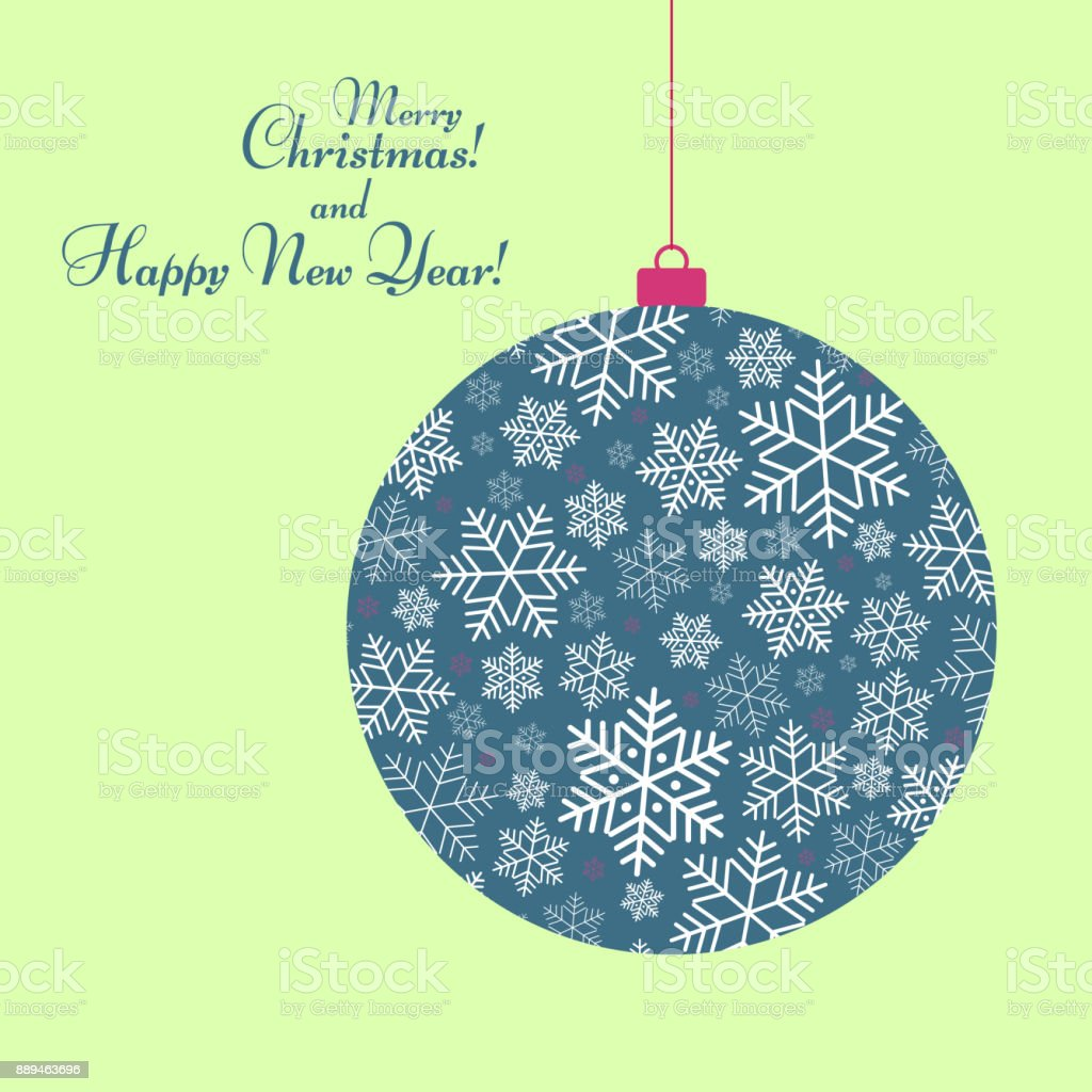 Stylized ball toy with a pattern of snowflakes Text of Happy New Year and Christmas Winter festive background for greeting card template invitation Creative blue ball with ornament for design Vector vector art illustration