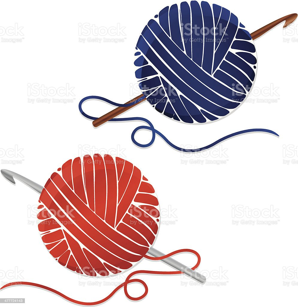 Stylized Balls of Yarn and Crochet Hooks; Icons vector art illustration