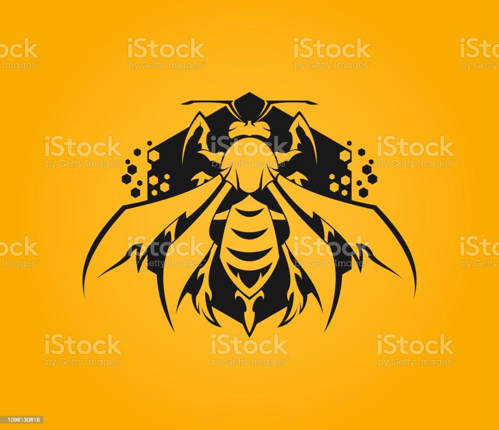 Stylized bee icon on hexagon with honeycomb