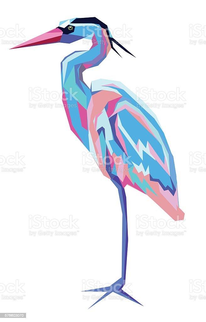 Stylized bird heron, bird vector. - illustrazione arte vettoriale