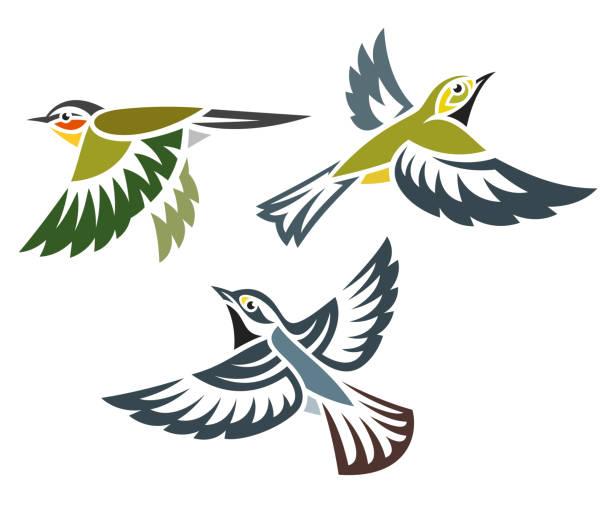 stockillustraties, clipart, cartoons en iconen met gestileerde vogels in vlucht - zanger vogel