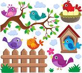 Stylized birds theme set 2 - eps10 vector illustration.