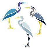 Stylized Herons