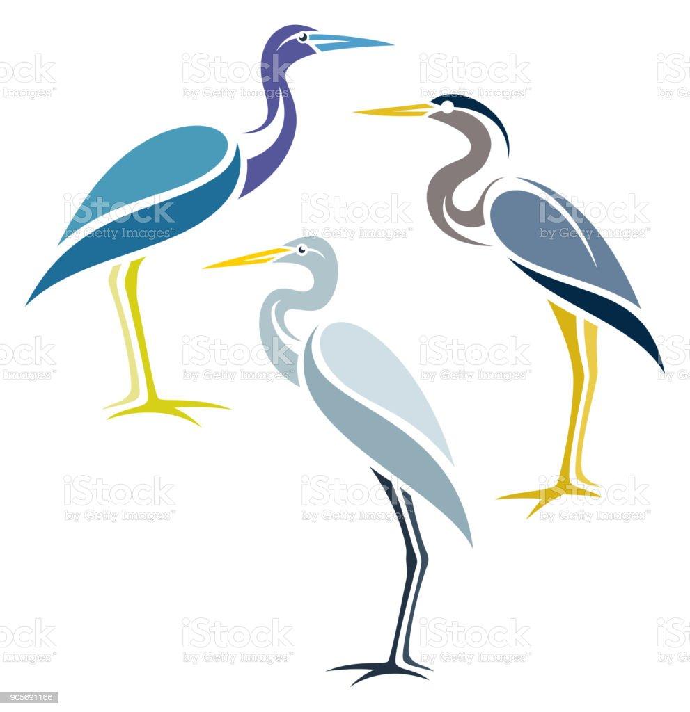 Stylized Birds - illustrazione arte vettoriale