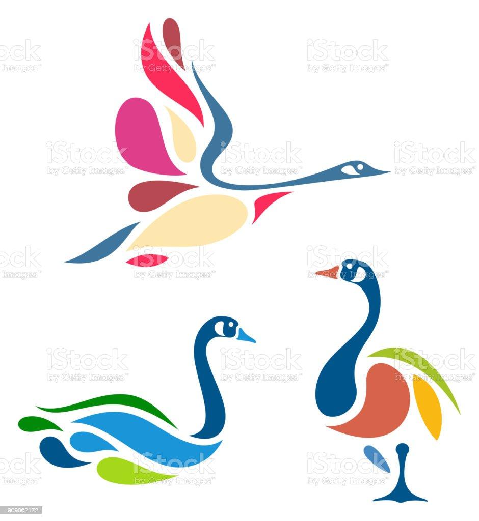 Stylisé oiseaux - Illustration vectorielle