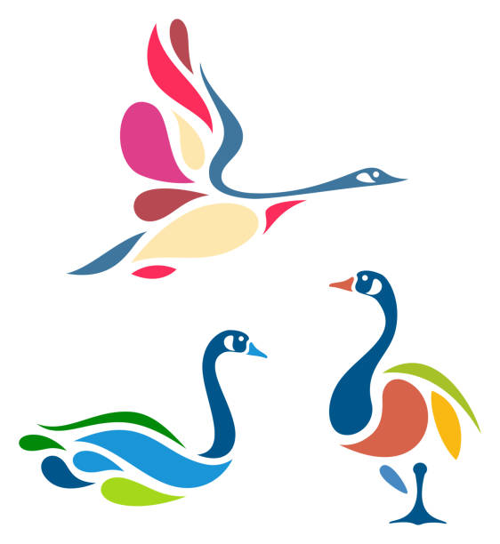 Stylized Birds Stylized Geese canada goose stock illustrations