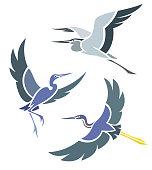 Stylized Birds - Herons in flight