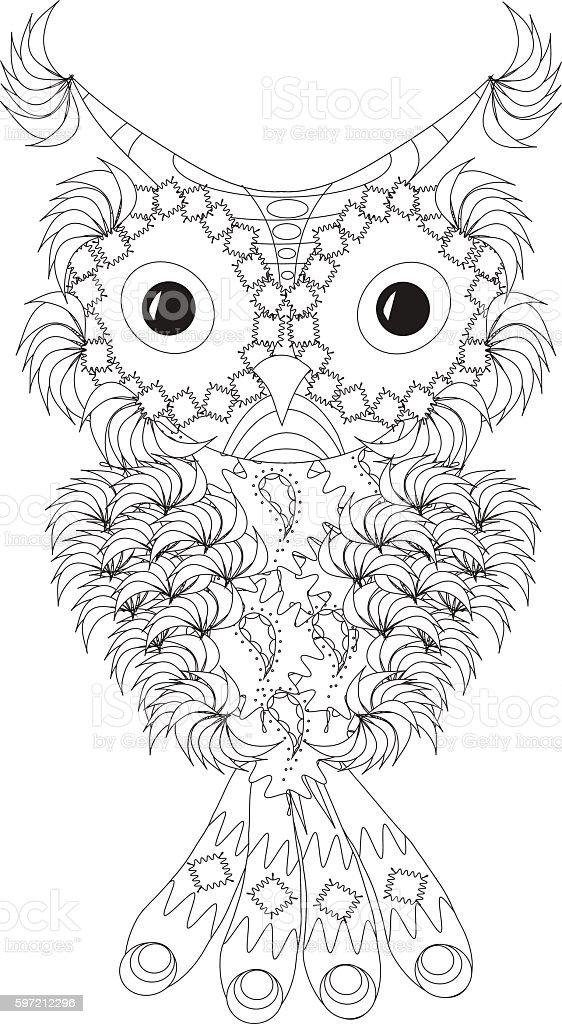 Stylized black and white owl with folded wings – Vektorgrafik