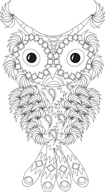 stylized black and white owl with folded wings - stammes tattoos stock-grafiken, -clipart, -cartoons und -symbole