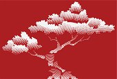 Stylized bonsai background in vector format.