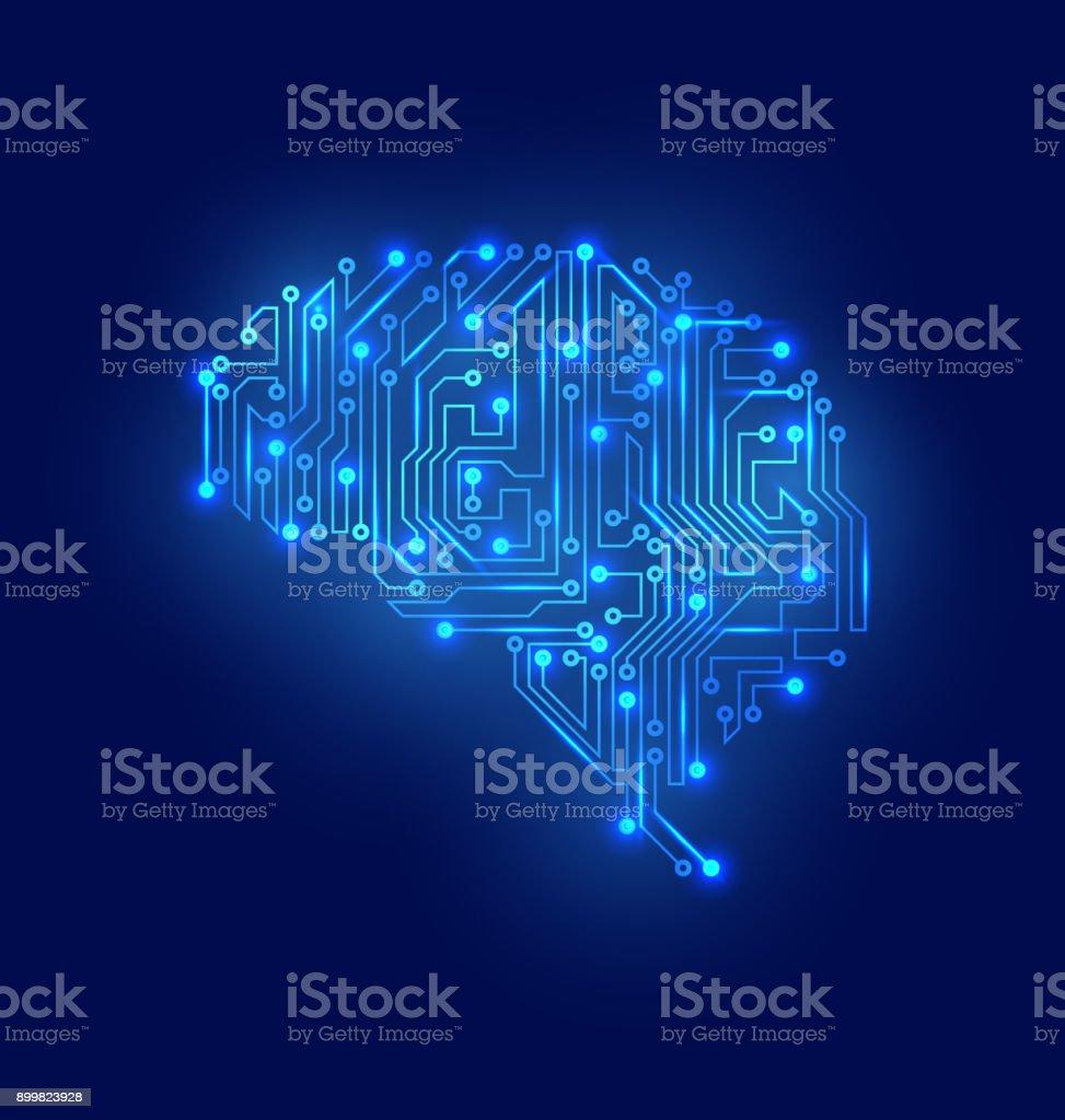 Stylized Brain. Circuit Board Texture, Electricity Mind vector art illustration