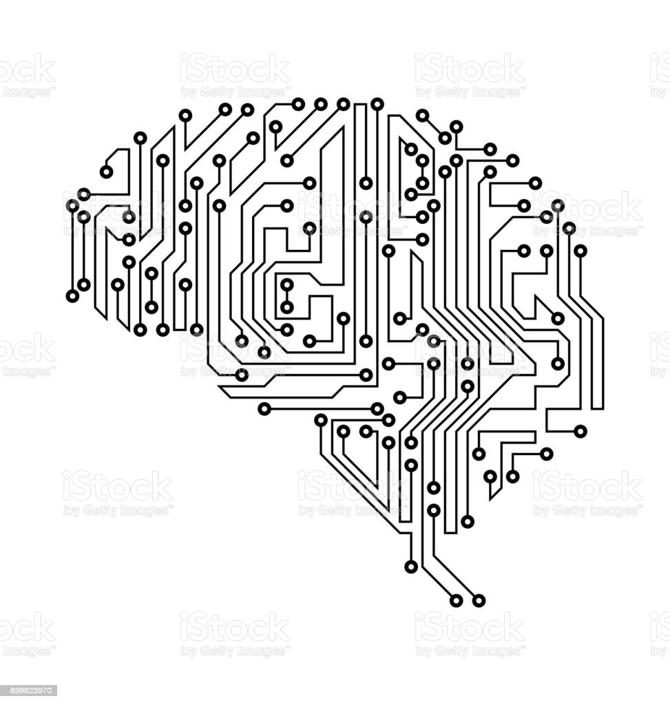 stylized brain circuit board texture electricity mind