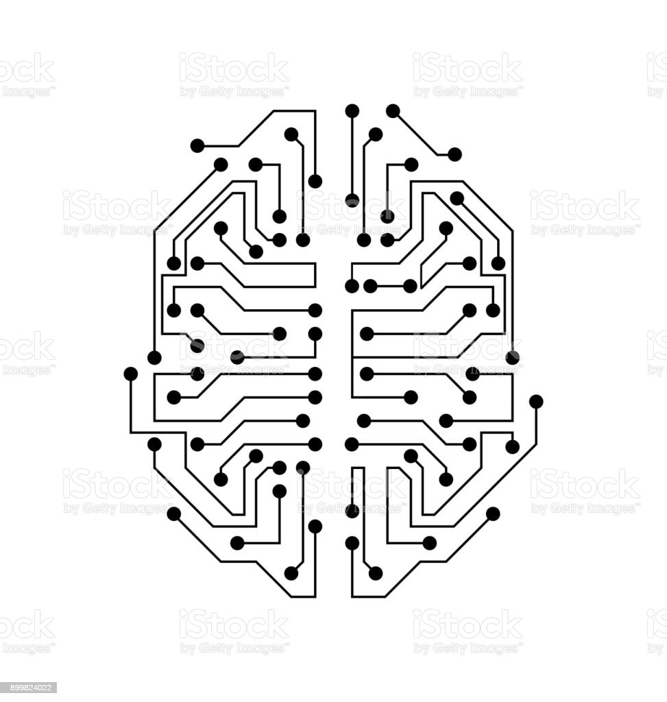 Cerveau Stylisée Texture De Circuit Imprimé Esprit Délectricité ...
