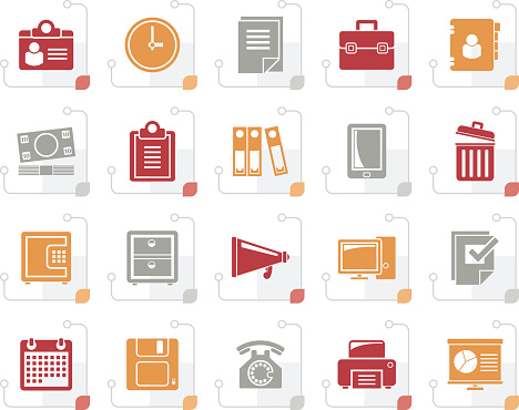 Stylized Business and office supplies icons