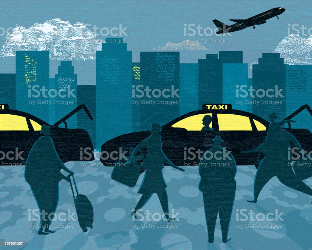 Stylized business travel and transportation taxi terminal royalty-free stock vector art